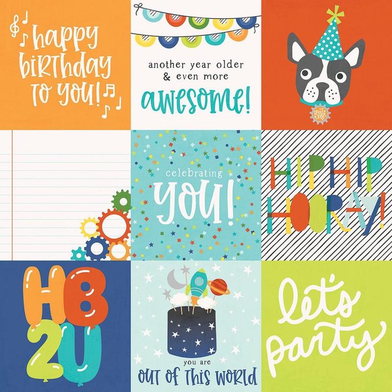 Papel Scrapbook Birthday Plast 4x4 Elements - Simple Stories