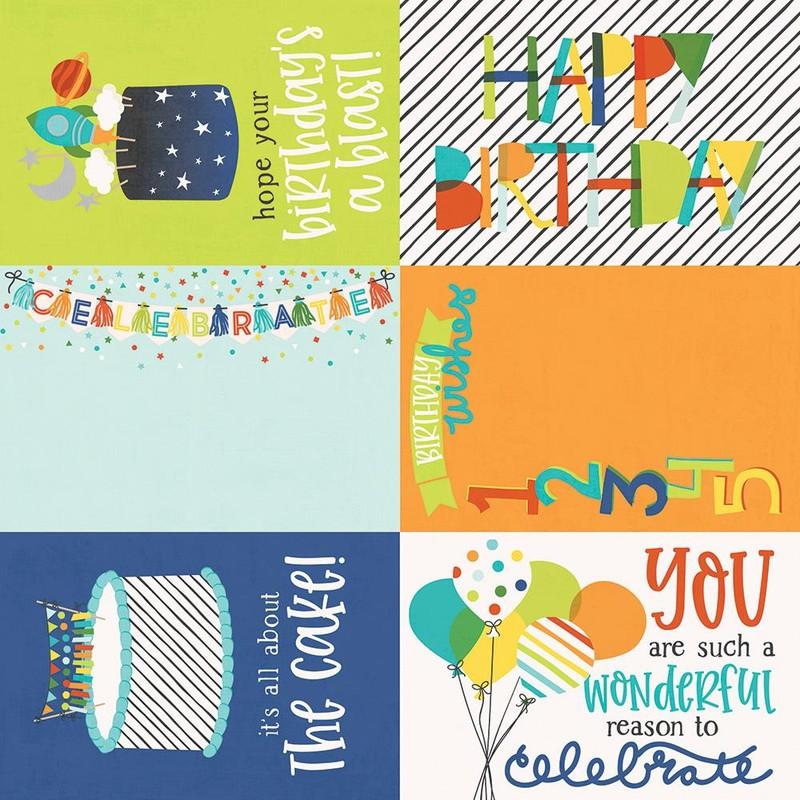 Papel Scrapbook Birthday Plast 4x6 Elements - Simple Stories