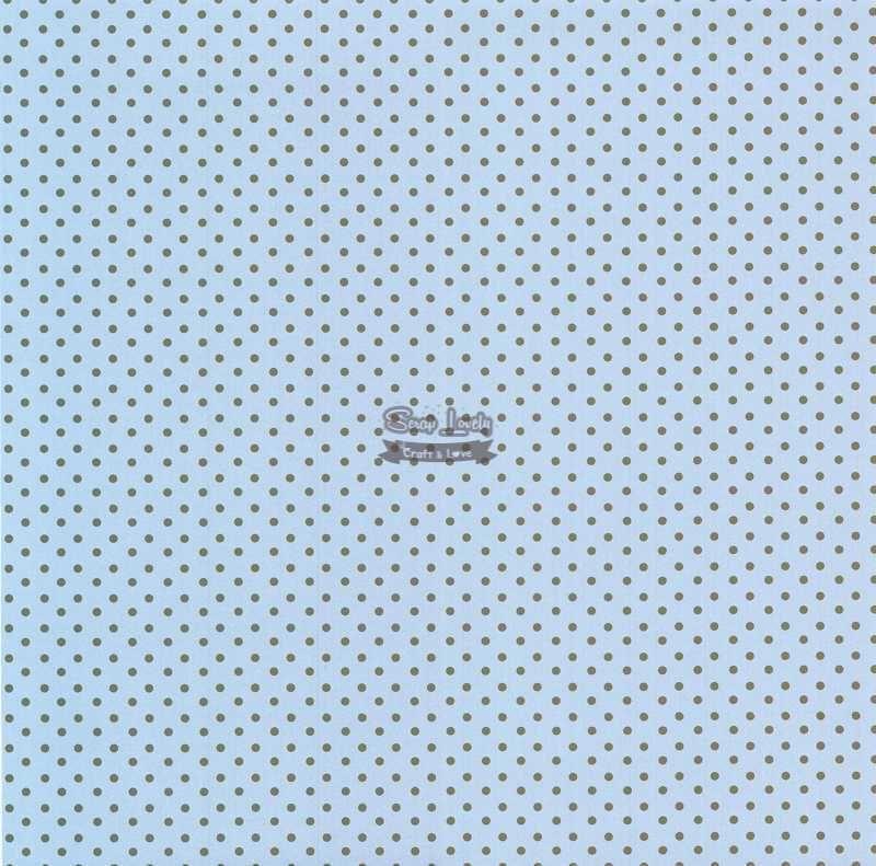 Papel Scrapbook Bolinha 02 Azul e Marrom - Metallik