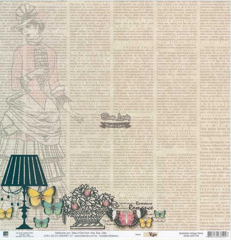 Papel Scrapbook Borboletas Vintage Dama - Toke e Crie