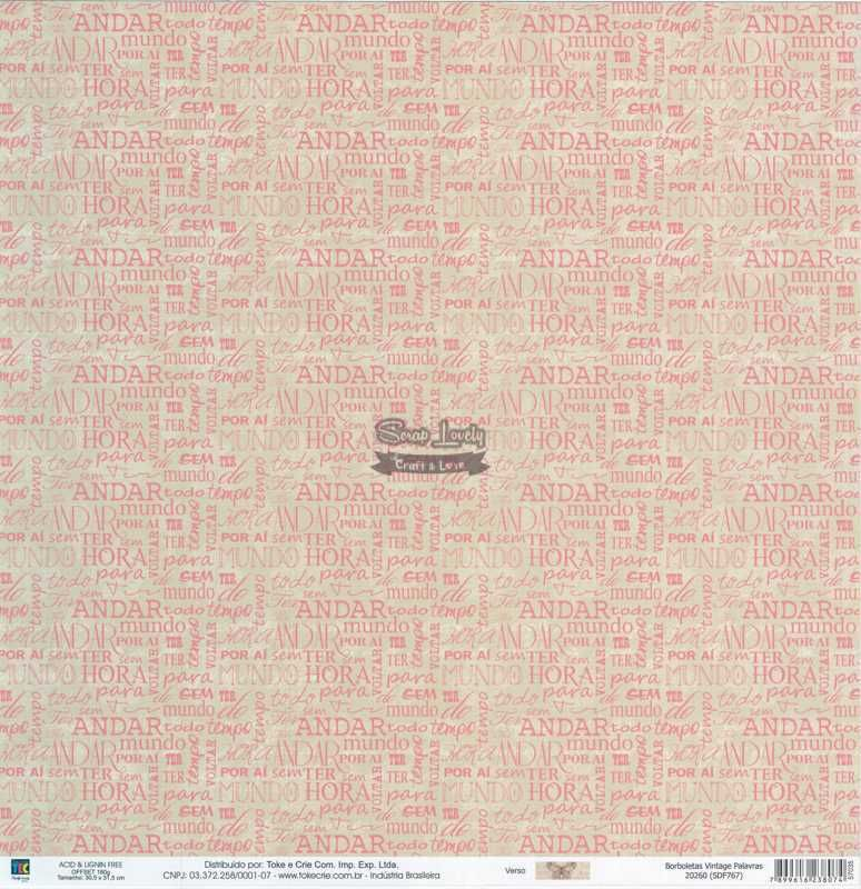 Papel Scrapbook Borboletas Vintage Palavras - Toke e Crie