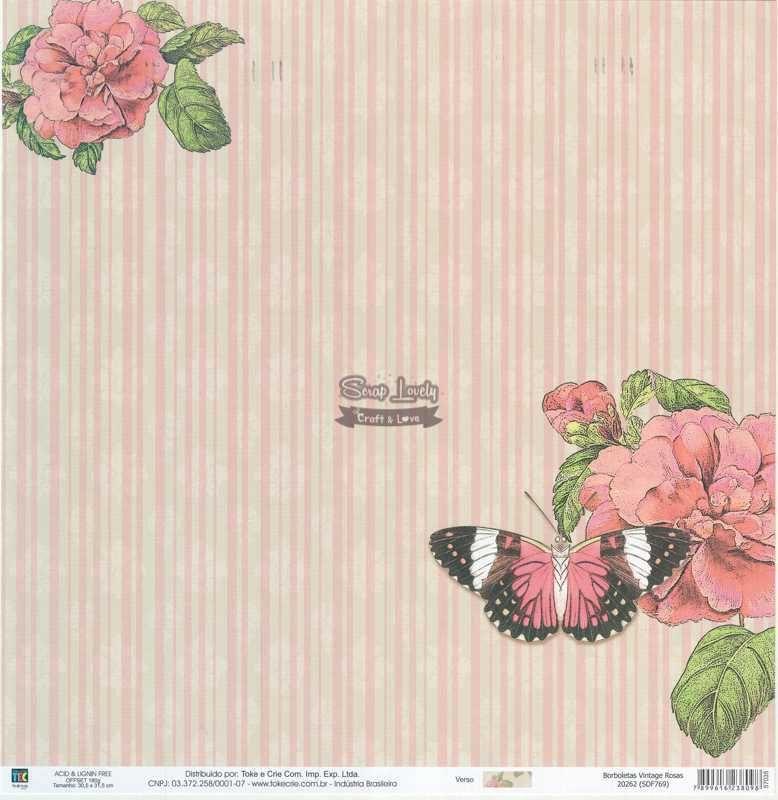 Papel Scrapbook Borboletas Vintage Rosas - Toke e Crie