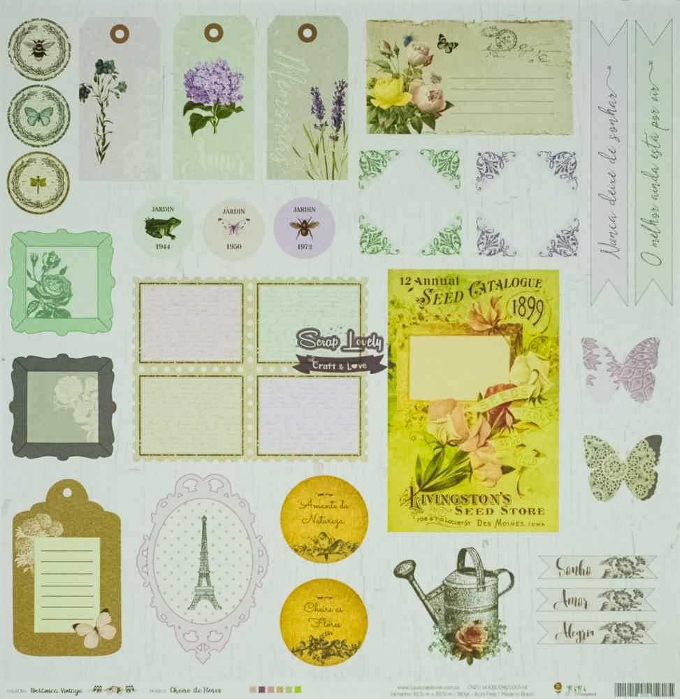 Papel Scrapbook Botânica Vintage Cheiro de Flores - JuJu Scrapbook