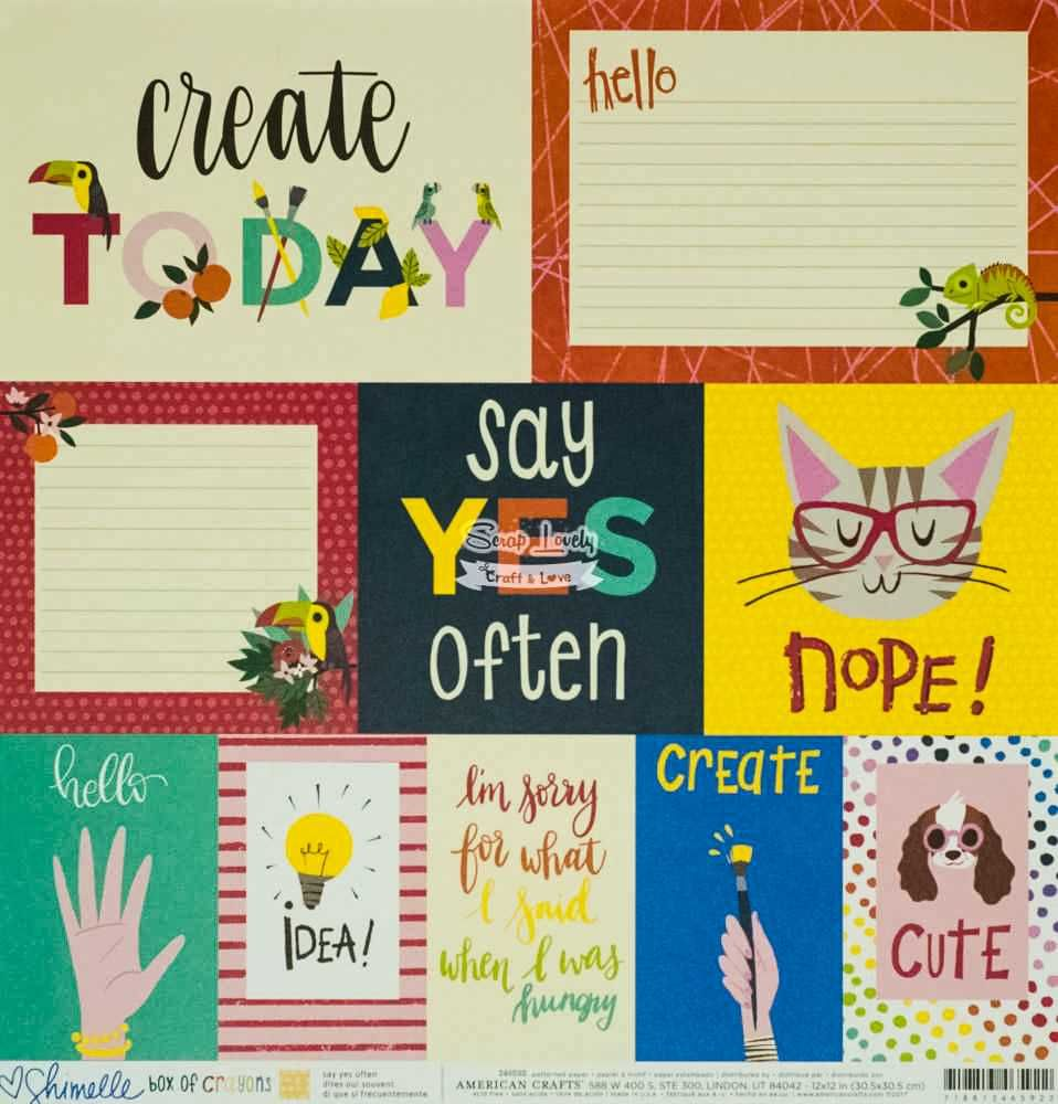 Papel Scrapbook Box of Crayons Say Yes Often - American Crafts