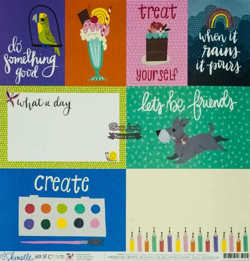 Papel Scrapbook Box of Crayons Treat Yourself - American Crafts