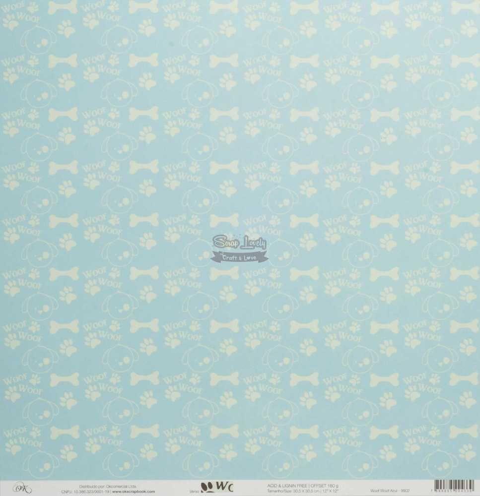 Papel Scrapbook Cachorrinhos Woof Woof Azul - OK Scrapbook