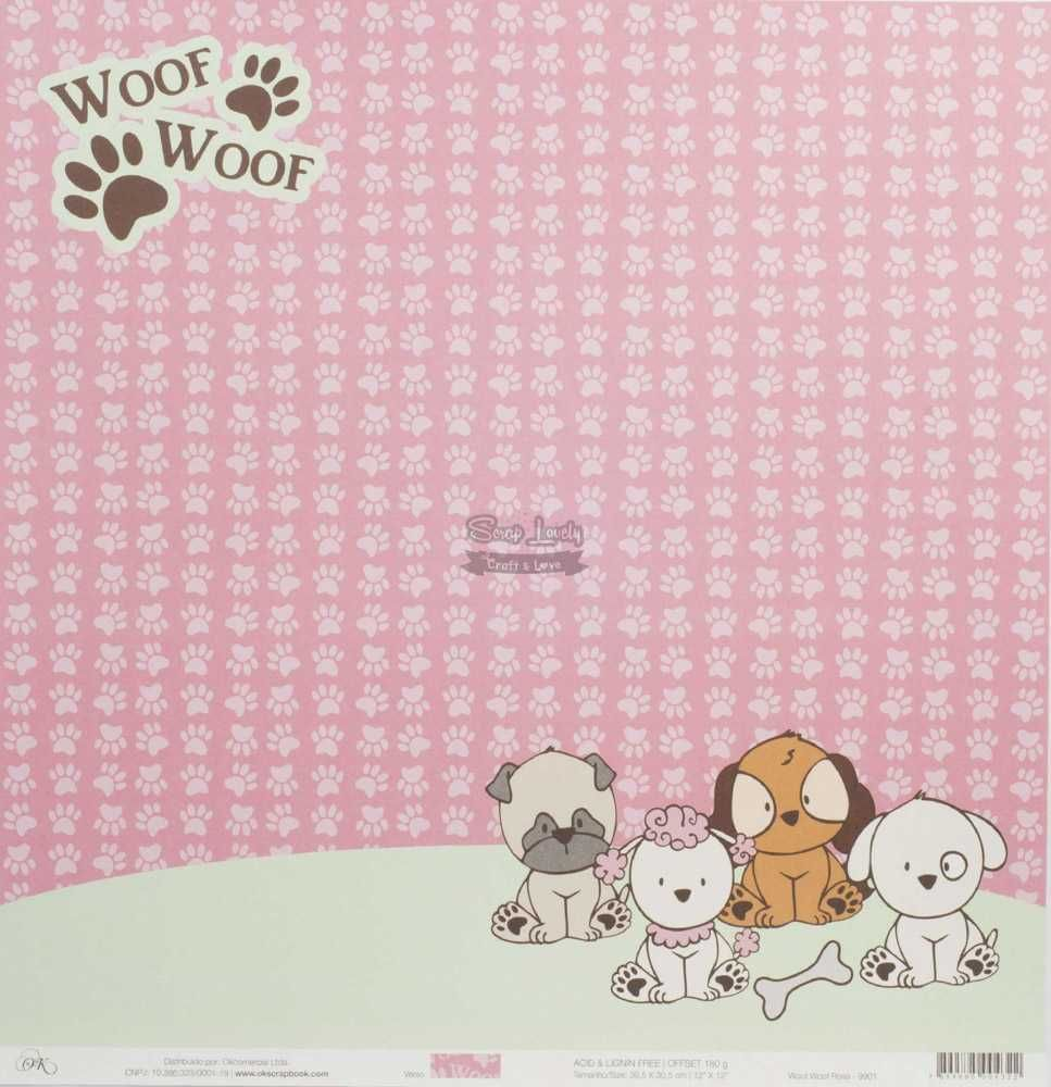 Papel Scrapbook Cachorrinhos Woof Woof Rosa - OK Scrapbook