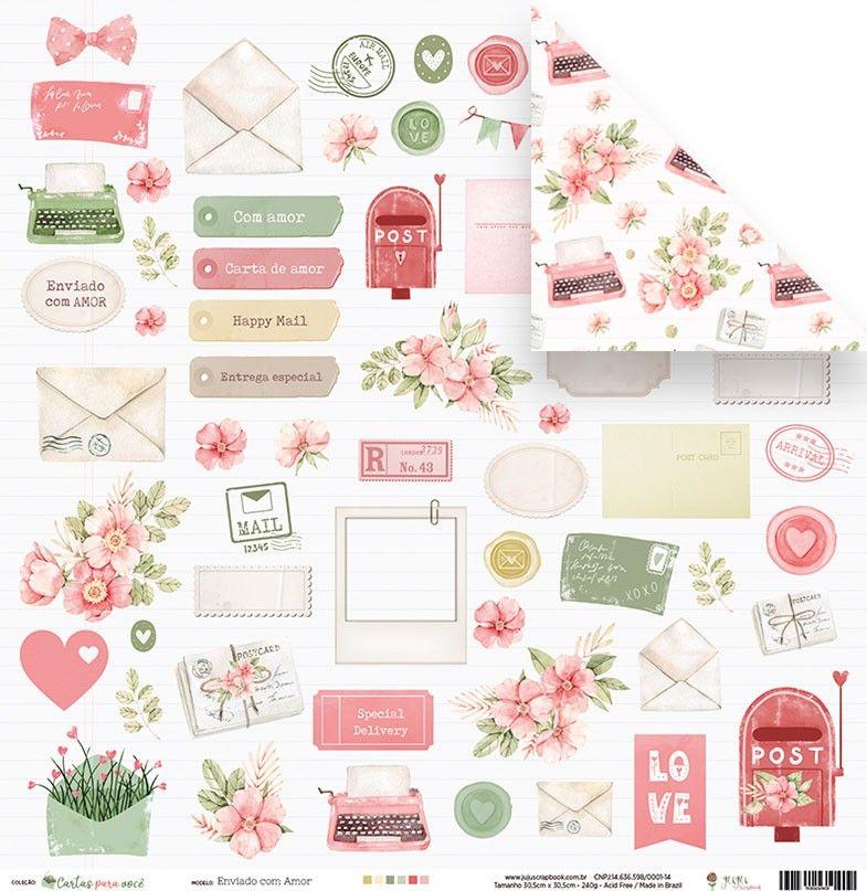 Papel Scrapbook Cartas para Você Enviado com Amor - Juju Scrapbook