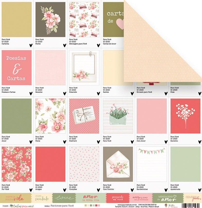 Papel Scrapbook Cartas para Você Pantones para Você - Juju Scrapbook