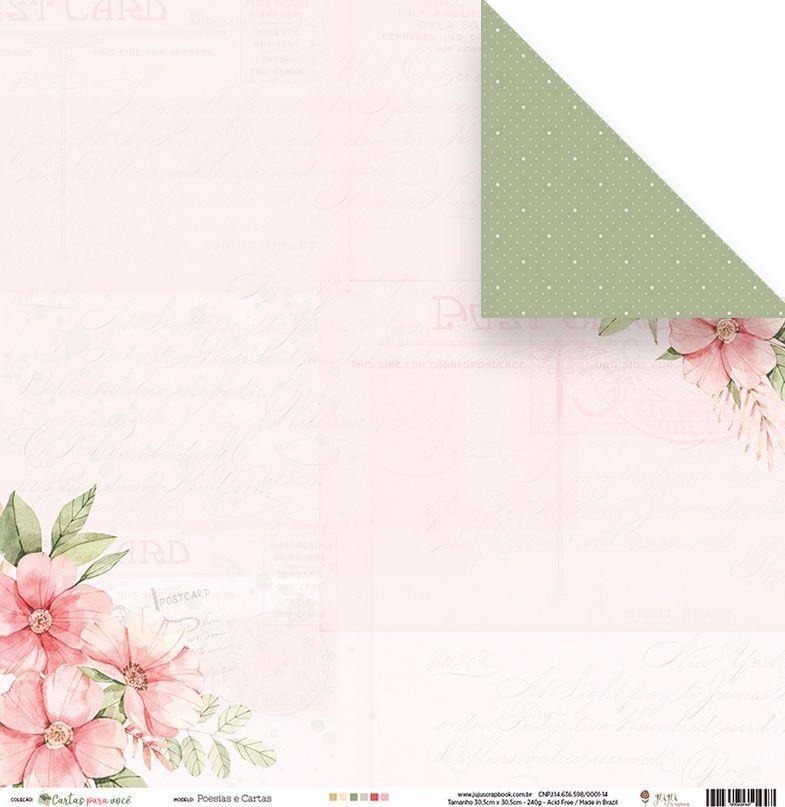 Papel Scrapbook Cartas para Você Poesias e Cartas - Juju Scrapbook