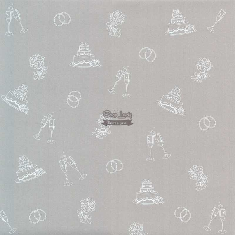 Papel Scrapbook Casamento 03 Prata - Metallik