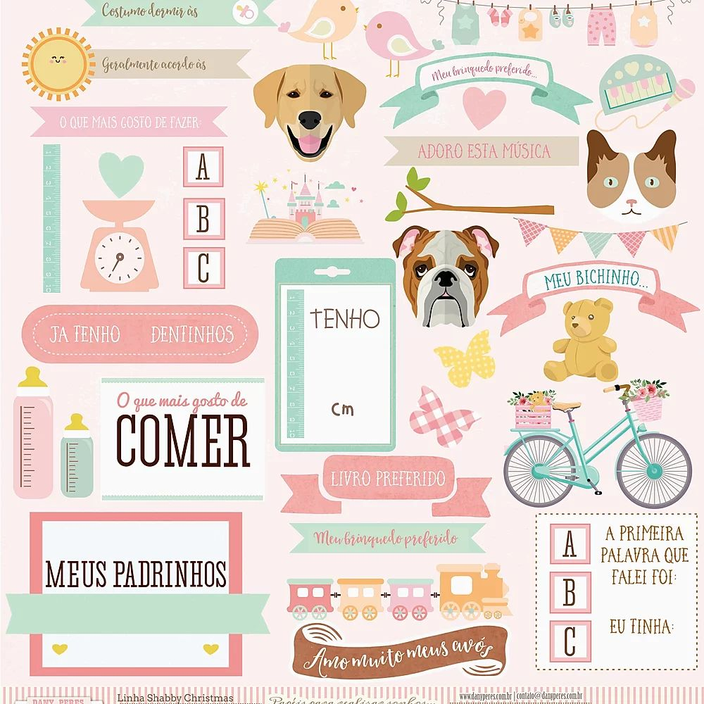 Papel Scrapbook Cecília Peres Infográfico - Dany Peres