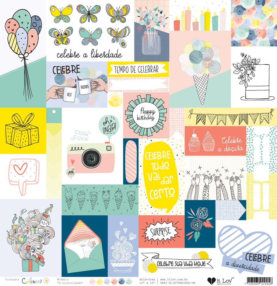 Papel Scrapbook Celebre A Diversidade - It Lov