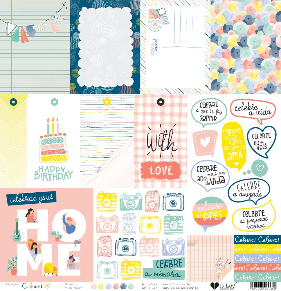 Papel Scrapbook Celebre Com Amor - It Lov