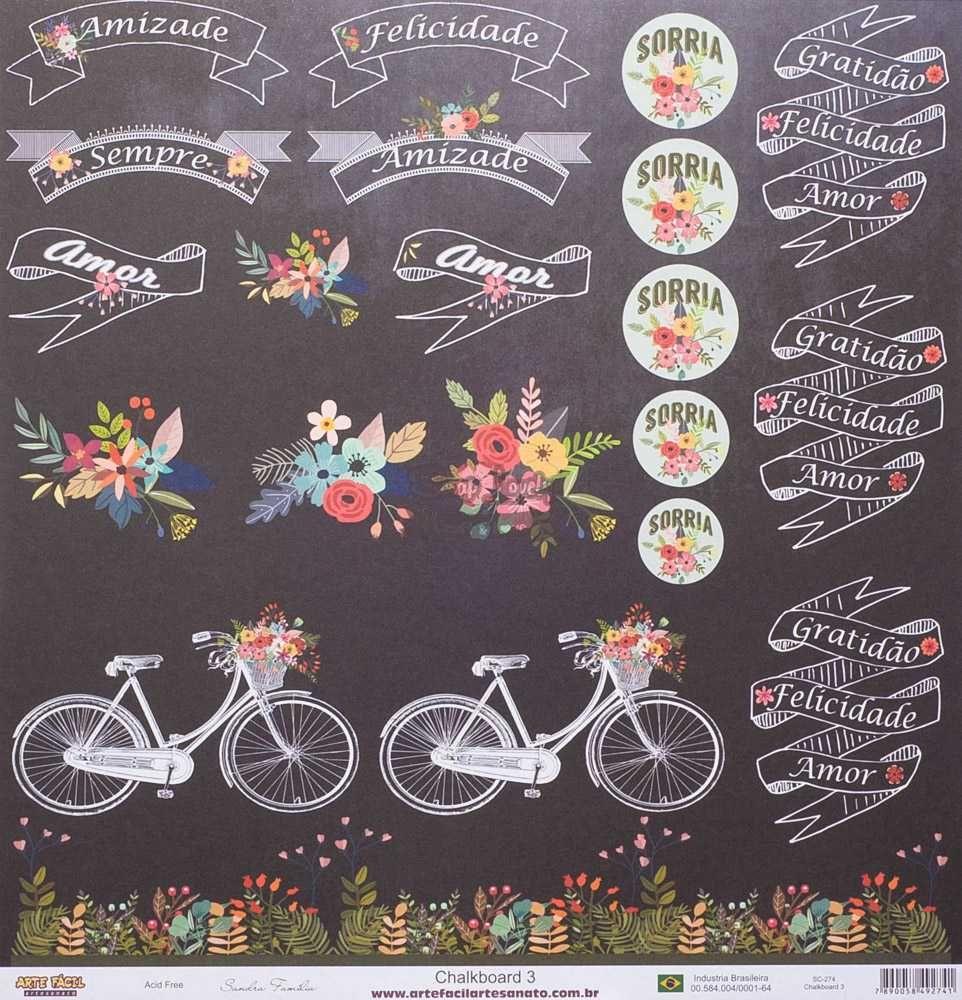 Papel Scrapbook Chalkboard 3 - Arte Fácil