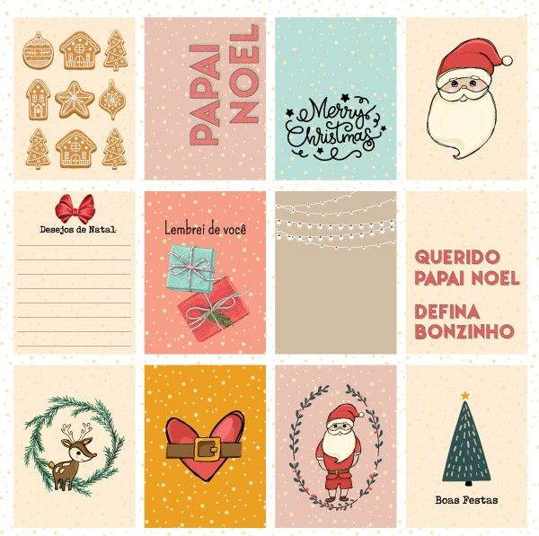 Papel Scrapbook Chegou o Natal Desejos de Natal PP199 - Scrap Goodies