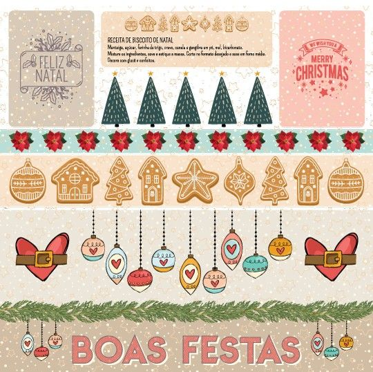 Papel Scrapbook Chegou o Natal Doce Natal PP202 - Scrap Goodies