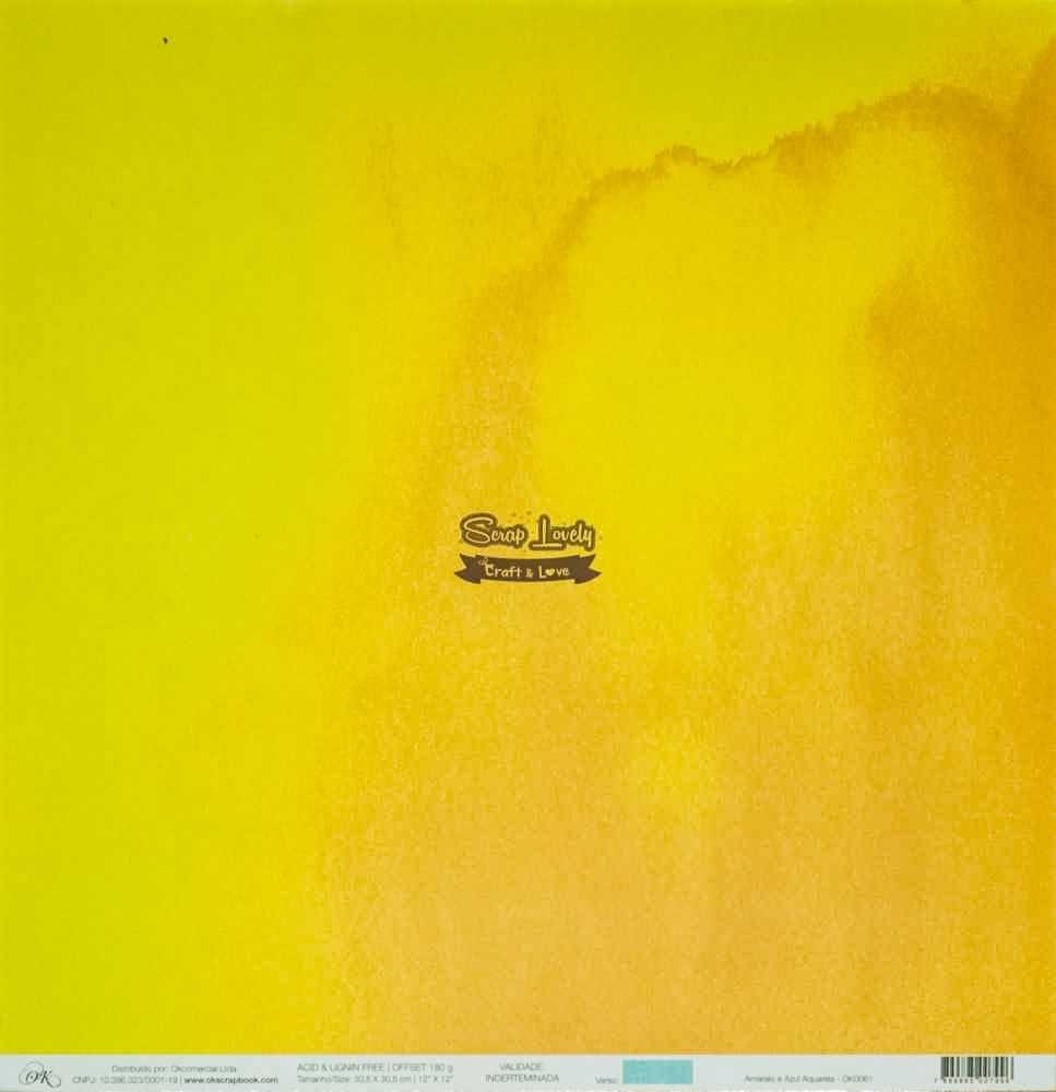 Papel Scrapbook Chegou o Verão! Amarelo e Azul Aquarela - OK Scrapbook