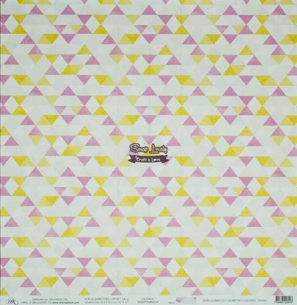 Papel Scrapbook Chegou o Verão! Elementos e Geométricos Coloridos - OK Scrapbook
