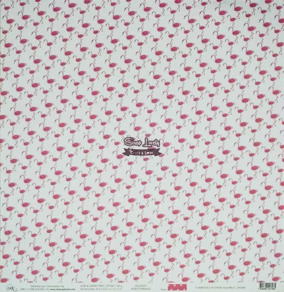 Papel Scrapbook Chegou o Verão! Flamingos e Poá Rosa Aquarela - OK Scrapbook