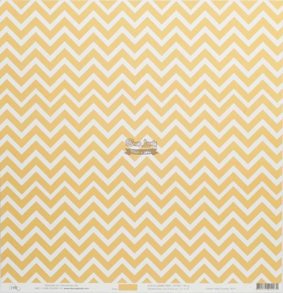 Papel Scrapbook Chevron Areia Dourada - OK Scrapbook