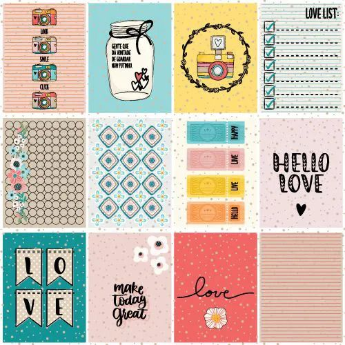 Papel Scrapbook Click and Love Happy - Scrap Goodies