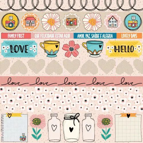 Papel Scrapbook Click and Love Hello - Scrap Goodies