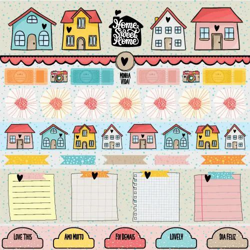 Papel Scrapbook Click and Love Home - Scrap Goodies