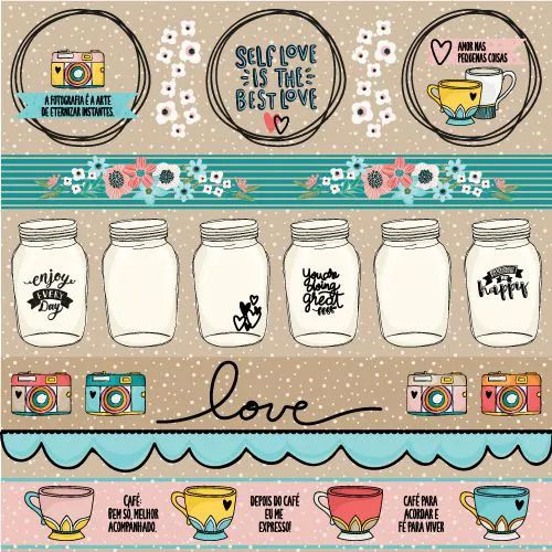 Papel Scrapbook Click and Love Love - Scrap Goodies