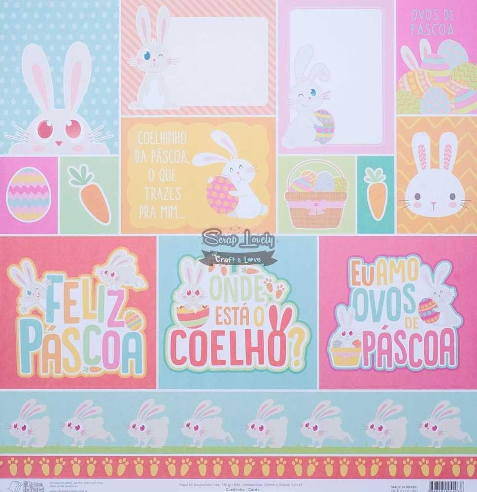Papel Scrapbook Coelhinho Cards - Oficina do Papel