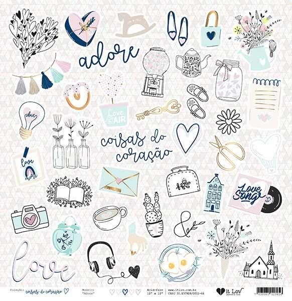 Papel Scrapbook Coisas do Coração Adore - It Lov