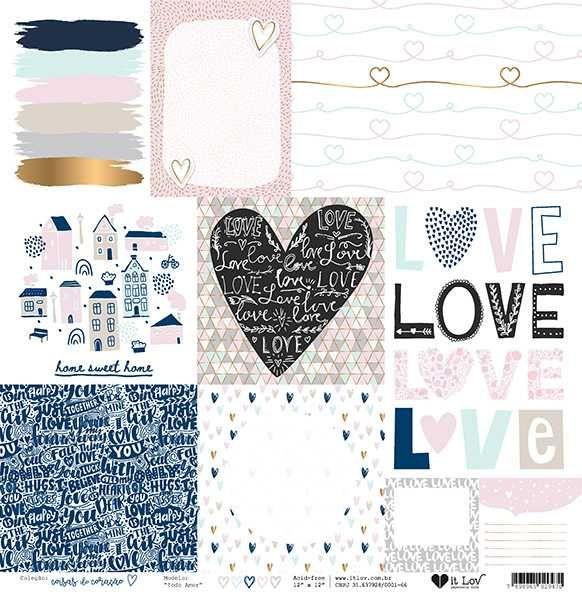 Papel Scrapbook Coisas do Coração Todo Amor - It Lov
