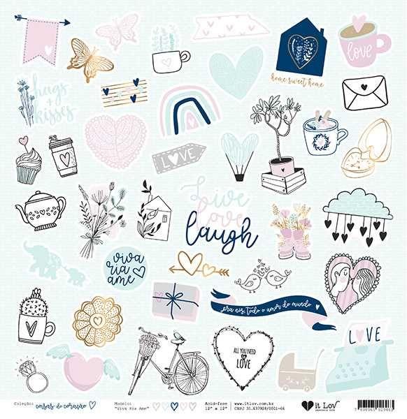 Papel Scrapbook Coisas do Coração Viva Ria Ame - It Lov