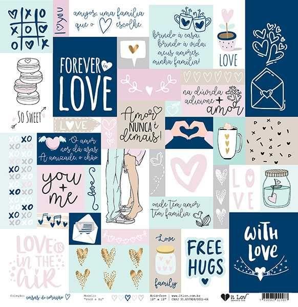 Papel Scrapbook Coisas do Coração Você e Eu - It Lov