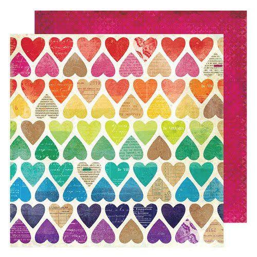 Papel Scrapbook Color Calendoscope Paper Hearts - American Crafts