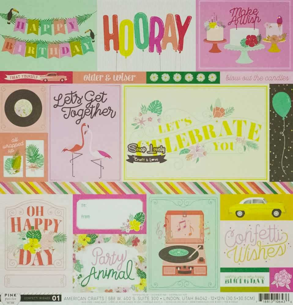 Papel Scrapbook Confetti Wishes Paper 01 - Pink Paislee