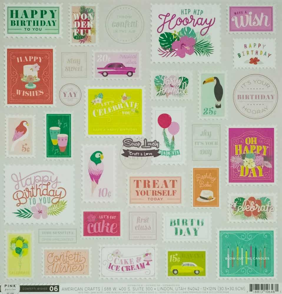 Papel Scrapbook Confetti Wishes Paper 06 - Pink Paislee