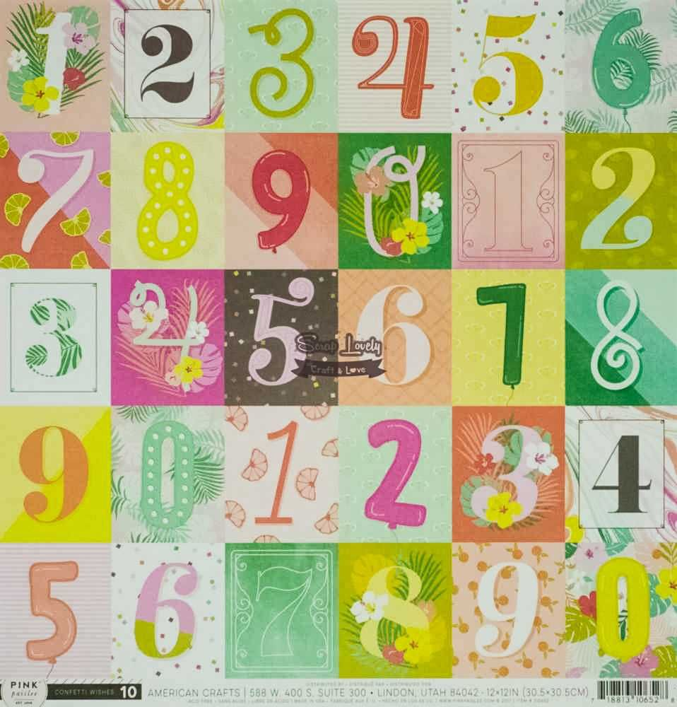 Papel Scrapbook Confetti Wishes Paper 10 - Pink Paislee