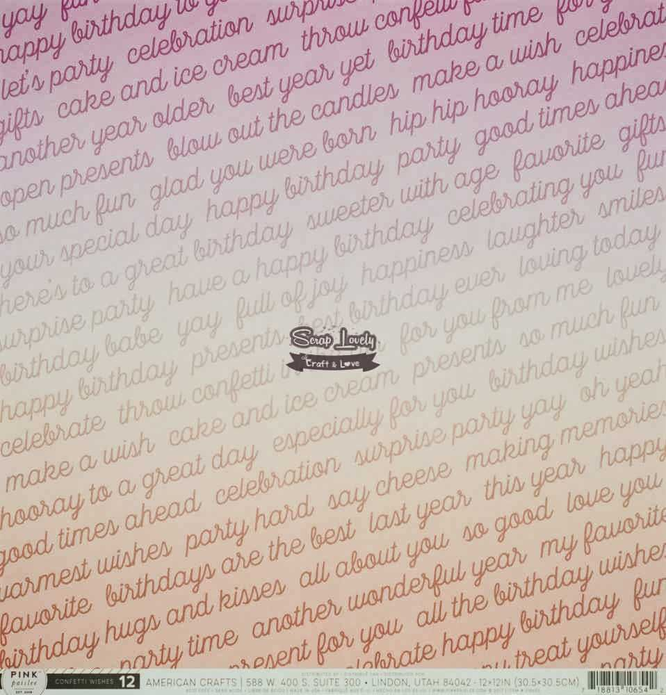 Papel Scrapbook Confetti Wishes Paper 12 - Pink Paislee