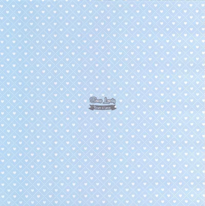 Papel Scrapbook Coração 3 Azul - Metallik
