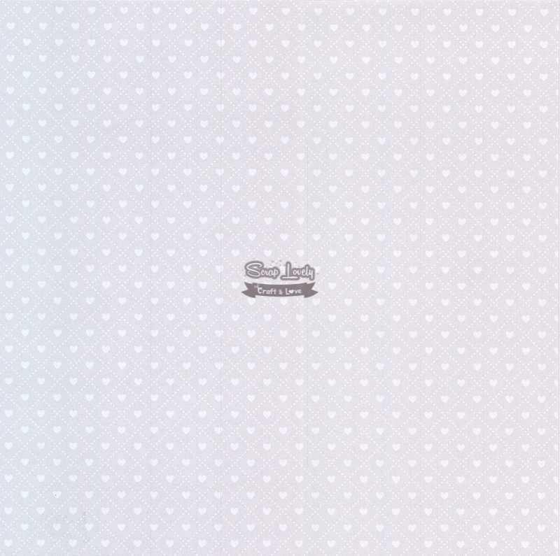 Papel Scrapbook Coração 3 Branco - Metallik