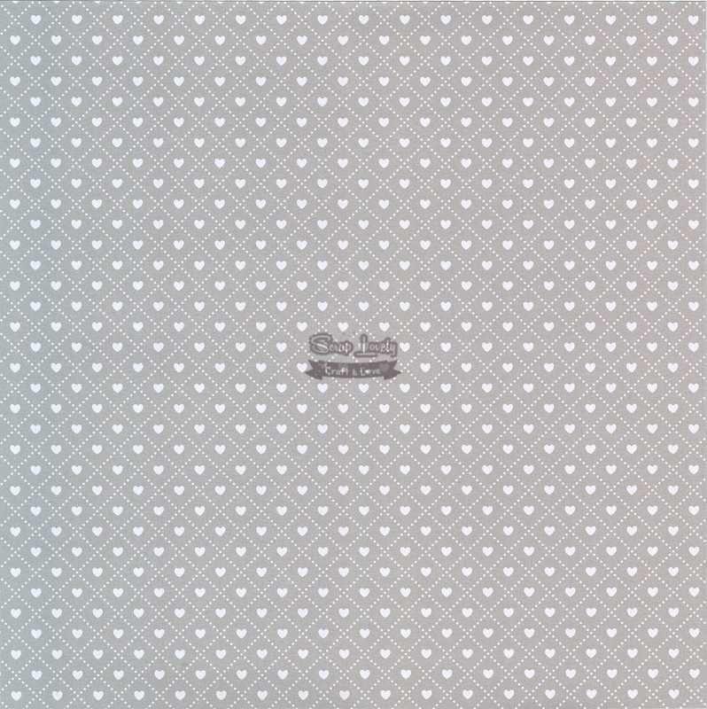 Papel Scrapbook Coração 3 Prata - Metallik