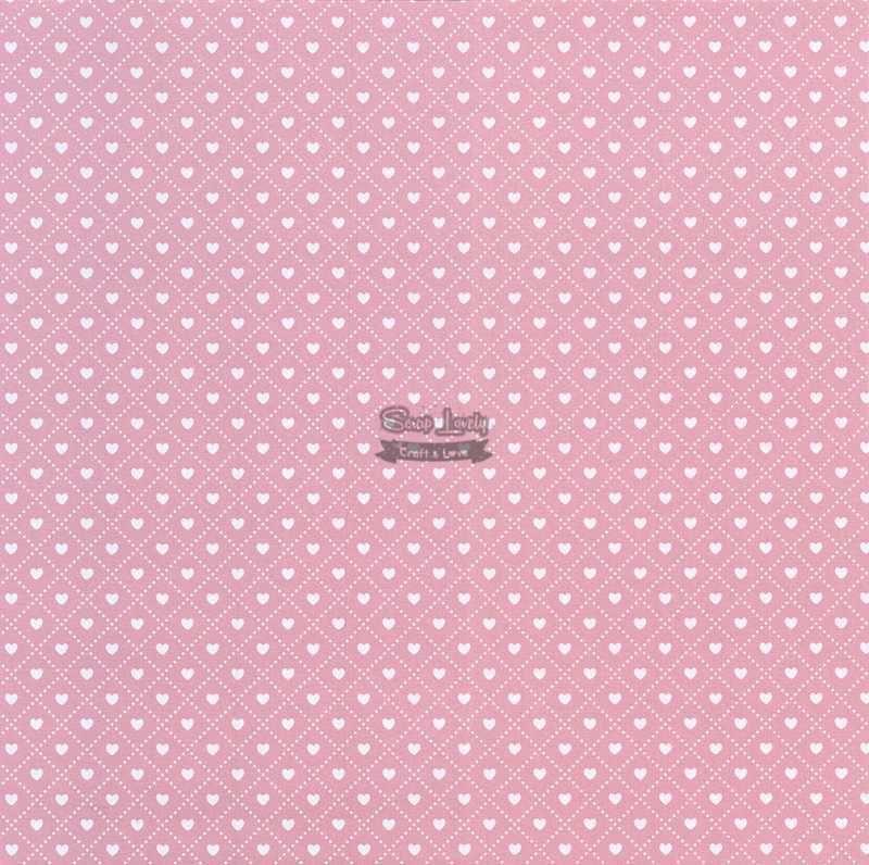 Papel Scrapbook Coração 3 Rosa - Metallik
