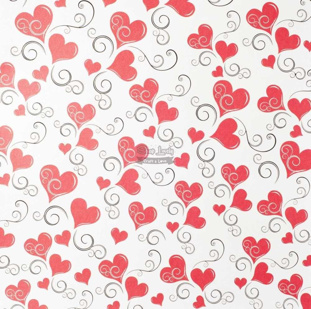 Papel Scrapbook Coração - Metallik