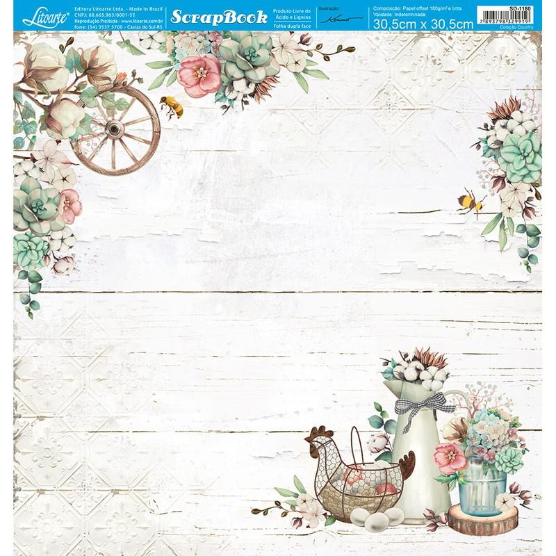 Papel Scrapbook Country SD-1180 - Litoarte