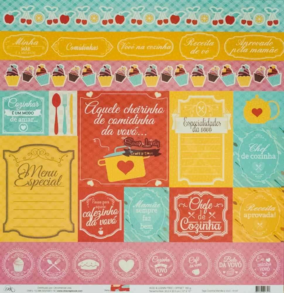 Papel Scrapbook Cozinha Fofa Tags Cozinha Mamãe e Vovó - OK Scrapbook