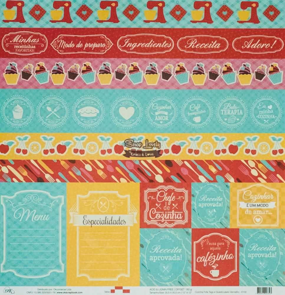 Papel Scrapbook Cozinha Fofa Tags e Quadriculado Vermelho - OK Scrapbook