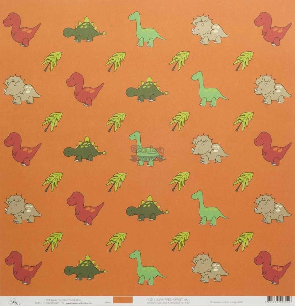 Papel Scrapbook Dinossauros Laranja - OK Scrapbook