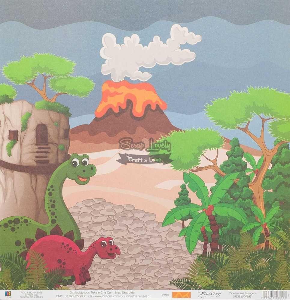 Papel Scrapbook Dinossauros Paisagem - Toke e Crie