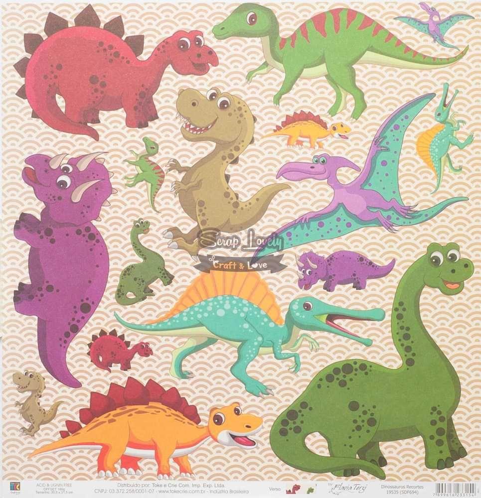 Papel Scrapbook Dinossauros Recortes - Toke e Crie